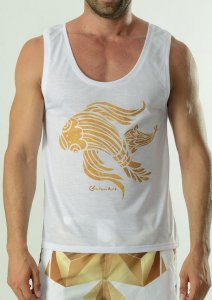 Geronimo Tank Top T Shirt White/Gold 1609T1-2
