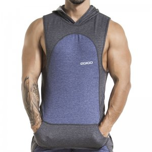 Gigo ATHLETIC BLUE Hoody Muscle Top T Shirt CH27152