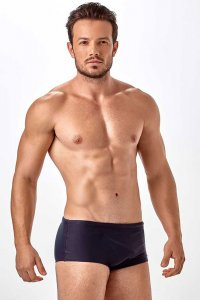 New Beach Sunga Lisa Plain Square Cut Trunk Swimwear Black