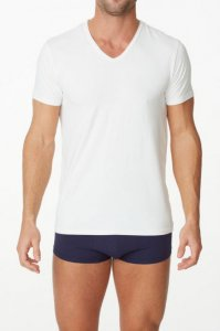 Parker & Max Micro Luxe V Neck Short Sleeved T Shirt White PMFP-TVN1