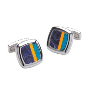 Duncan Walton Sculptor Cufflinks Blue/Orange C2622B