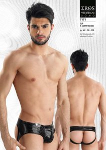 Eros Veneziani Stripe Jock Brief Jock Strap Underwear Black 7171
