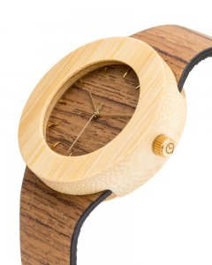 Analog Watch Teak & Bamboo / Hour Markings Watch UPT