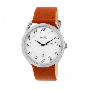 Simplify The 4900 Leather-Band Watch w/Date - Silver/White/Camel SIM4901