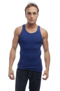 Go Softwear Overdyed Rib Tank Top T Shirt Cadet Blue 4615