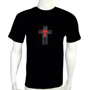 LED Electro Luminescence Sound Activated With Cross Shaped T Shirt 12002
