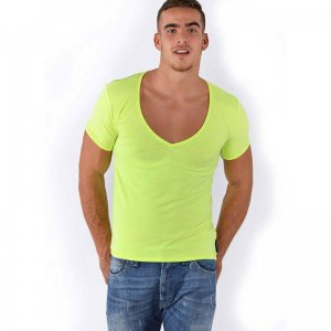 Roberto Lucca Slim Fit Deep V Neck Short Sleeved T Shirt Neon Yellow 80223-00171