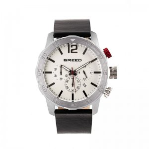 Breed Manuel Chronograph Leather-Band Watch w/Date - Silver ...