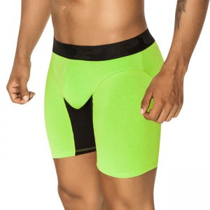 PPU Splash Contrast Long Leg Boxer Brief Underwear Green/Black 1408