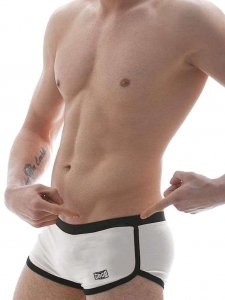 Good Boy Gone Bad Rolo Square Cut Trunk Swimwear White/Black