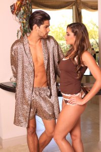 Lovely Day Lingerie Men's Leopard Robe Short Set MR1001