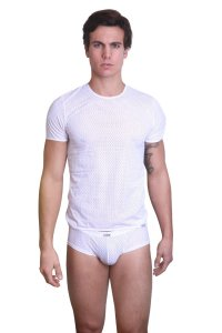 Lookme THE SHADOW Mesh Lace Up Sleeved Short Sleeved T Shirt White 36-81