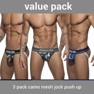 Addicted [3 Pack] Push Up Mesh Jock Strap Underwear Camo AD7...
