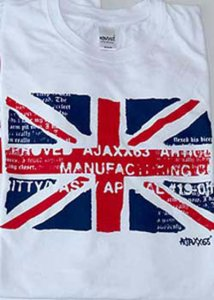 Ajaxx63 Athletic Fit British Flag Short Sleeved T Shirt White AS70