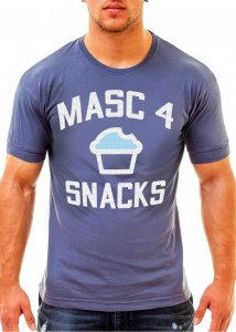 Ajaxx63 Masc 4 Snacks Athletic Fit Short Sleeved T Shirt Blue AS94