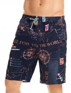 Hawai World Map Boardshorts Beachwear Grey 51903