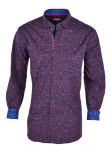 Spazio Sekla Long Sleeved Shirt Bordeaux 25-S-1812