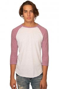 Royal Apparel Unisex Triblend Raglan Baseball Long Sleeved T Shirt Tri White/Tri Purple 20060