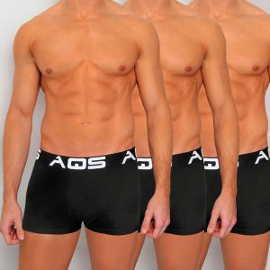 AQS [3 pack] Sport Boxer Brief Underwear Black SBBB