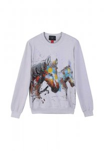 Spy Henry Lau Double Horse Embroidered Long Sleeved Sweater ...