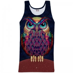 Mr. Gugu & Miss Go Space Owl Unisex Tank Top T Shirt TT735