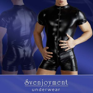 Svenjoyment Wetlook Zipper Short Jumpsuit Black 2150212