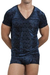 L'Homme Invisible Tosca V Neck Short Sleeved T Shirt Blue MY61D-TOS-057