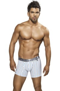 Xtremen Stripe Microfiber Boxer Brief Underwear White 51311