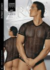 Eros Veneziani Stripe Sheer V Neck Short Sleeved T Shirt 6827