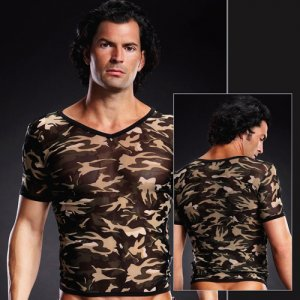 Blue Line Pro-Mesh V Neck Short Sleeved T Shirt Camouflage BLM020