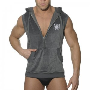 ES Collection Velvet Sleeveless Hoody Sweater Charcoal SP009