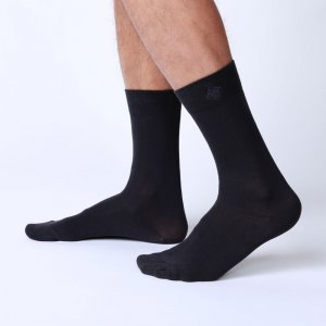 Bonne Cle Black & White Classic Socks Dark Grey