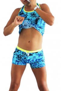 Icker Sea Flowers Matching Tank Top & Boxer Brief Set Blue COR-16-02