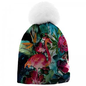 Mr. Gugu & Miss Go Colorful Flamingo Unisex Pom-Pom Beanie W...