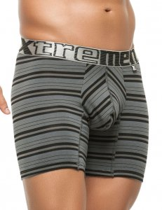 Xtremen Stripe Classic Boxer Brief Underwear Grey 51387