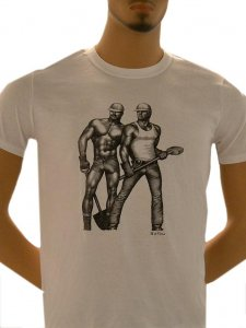 Tom Of Finland Construction Duo Short Sleeved T Shirt White