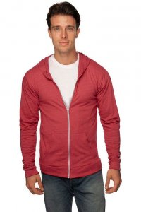 Royal Apparel Unisex Eco Tri Jersey Full Zip Hoody Long Sleeved Sweater Eco Tri True Red 32550