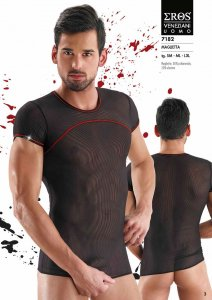 Eros Veneziani Contrast Stitching Stripe & Sheer Short Sleeved T Shirt Black/Red 7182