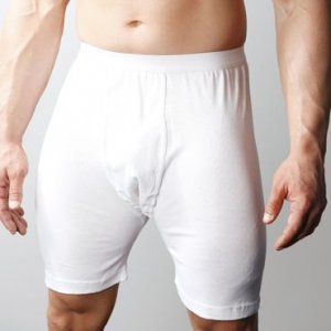 Players Big Man's Cotton Mid Length Long Boxer Underwear White