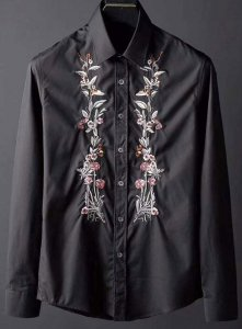 Spy Henry Lau Floral Embroidered Long Sleeved Shirt Black PH...