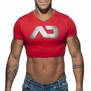 Addicted AD Crop Top Short Sleeved T Shirt Red AD819