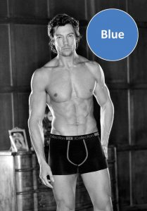 iCollection Bamboo Contrast Trim Boxer Brief Underwear Blue 8810