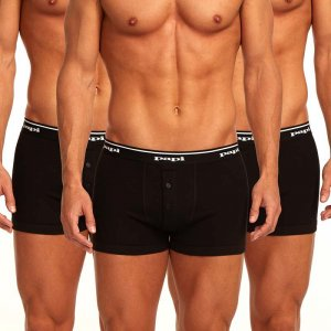 Papi [3 Pack] Premium Cotton Buttonfly Boxer Brief Underwear Black 705602
