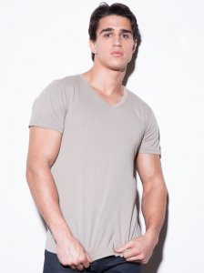 N2N Bodywear Basic V Neck Short Sleeved T Shirt Putty BC3