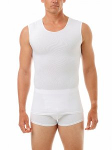 Underworks Shapewear Ultra Light Compression Cotton Spandex Muscle Top T Shirt White 594100