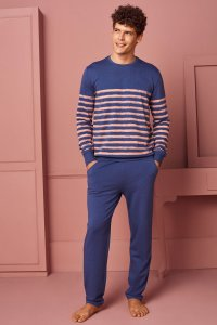 Doreanse Stripe Long Sleeved Sweater & Pants Set Loungewear ...