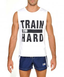 STUD Athletic Train Hard Muscle Top T Shirt White