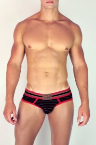 2EROS Stripe Brief Underwear Red U10-12
