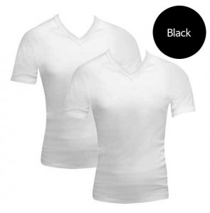 [2 Pack] Bonds V-Neck Raglan Short Sleeved T Shirt Black 39762W