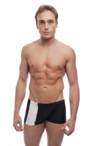 Go Softwear Priapos C Ring Square Cut Trunk Swimwear Black/White 4538